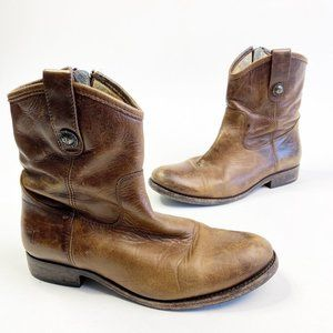 FRYE Melissa Short Brown Leather Ankle Boots